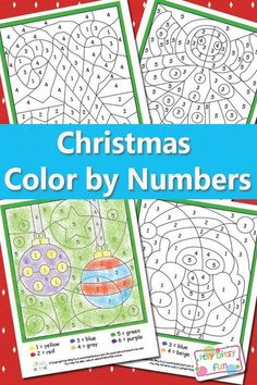 Christmas Color by Numbers Worksheets