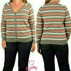 "multi striped plus cardigan gray,white & coral striped button down cardigan. Brand new and never worn. women's plus size 2X. has some stretch to it. bust is about 22.5"" across when laying flat, about 25"" long from shoulder. 80% cotton, 20% nylon. no trades. Sweaters Cardigans"