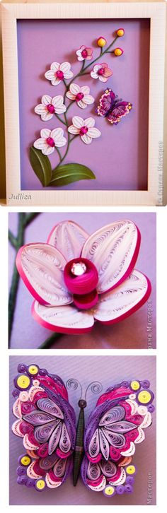 Quilling - white orchids with butterfly - by Jullica