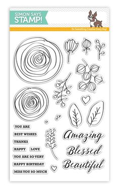 RESERVE Simon Says Clear Stamps SKETCH RANUNCULUS SSS101626 My Favorite zoom image