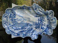 Antique William Mason Blue White Transferware Serving Dish Lymouth North Devon
