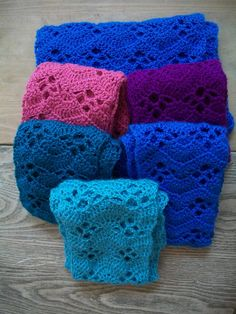super soft crocheted scarves.  Pattern here: http://www.caron.com/projects/ss_light/ss_light_wrap_it_up_scarf.html