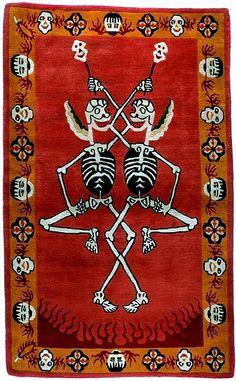 TIBETIAN BUDDHIST CARPETS | Tantric Carpet, Citipati on Deep Orange red - Tibetan Tiger Rugs ...