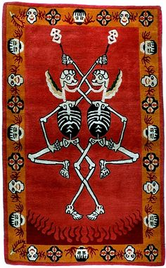 TIBETIAN BUDDHIST CARPETS | Tantric Carpet, Citipati on Deep Orange red - Tibetan Tiger Rugs ...