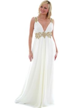 grecian dress | ... Dresses › Pia Michi › Gold Jewelled Cummerbund Grecian Style Dress