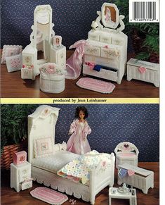 Fashion Doll Hearts N Flowers Bedroom Plastic Canvas Pattern Book ASN 3140.  back cover