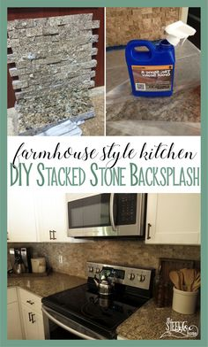 DIY Split Travertine Stacked Stone Kitchen Backsplash. Venetian Gold Granite Counters. Ogee Edge Countertops. How to make faceplates sit flat on stone. White shaker cabinets. Farmhouse kitchen. Steel Fox Home blog renovation story. Before and After Pictures. Fixer Upper.