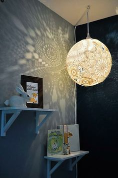 I love the pattern this light shade casts on the wall and with a dimmer switch to turn the light down really low, it would make a great night light in a child's room. Is it macramé?