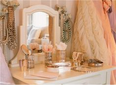 how lovely to be a woman... this is so sweet for a vintage bathroom look.