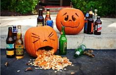 betrunkene helloween kürbisgesichter