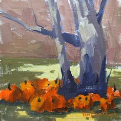 VanDerHoek Art: Pumpkin Patch Sycamore - Original Impressionist Style Oil Painting of a Tree and Pumpkins - Pumpkin Patch Painting - Kitchen...