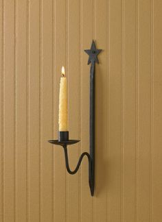 Natural Iron Star Single Candlestick Wall Sconce 15 1/2 H