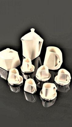Vlastislav Hofman: kávový servis (výroba Graniton), 1913-1914 měkká kamenina, glazura World War One, Cubism, Designers, World War I