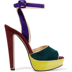 Christian Louboutin Louloudance color-block suede sandals ($1,095) ❤ liked on Polyvore featuring shoes, sandals, royal blue, suede shoes, block-heel sandals, high heel platform sandals, multi color sandals and platform sandals