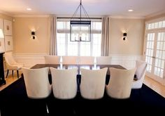 Dining Room in Benjamin Moore Paint Color: Muslin.  The perfect shade of Cream.