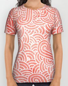 """""""Peach echo and white zentangles"""" Unisex All Over Print T-Shirt by Savousepate on Society6 #tshirt #teeshirt #clothing #pattern #abstract #zentangles #doodles #scrolls #spirals #pastel #pink #coral #salmon #peachecho #rosequartz #white #pantonecolors2016"""
