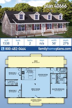 A Best Selling Ranch House Plan with 1538 sq., 3 Beds and 2 Baths – Affordable House Design This country ranch has just over 1500 square feet of living space, 3 bedrooms and 2 bathrooms. An efficient and affordable… Continue Reading → Barn House Plans, Family House Plans, New House Plans, Dream House Plans, House Floor Plans, Square House Plans, Affordable House Plans, Affordable Housing, Building Plans