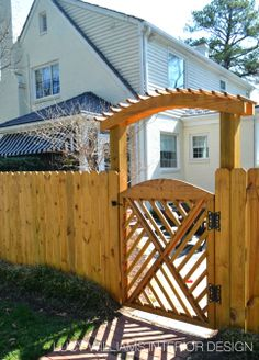Chippendale styled garden gate with small pergola Pergola Ideas For Patio, Wood Pergola, Small Pergola, Deck With Pergola, Cheap Pergola, Backyard Pergola, Pergola Kits, Small Patio, Wooden Fence Gate