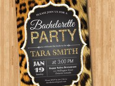 Leopard Print Bachelorette Party Invitation. Gold Glitter. Cheetah Animal Print…