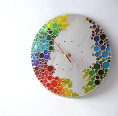 Stained glass painting wall clock with the colored bubbles. It can make unique gift for any occasion or be great a decoration in your house.