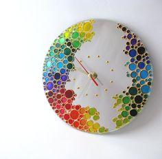 Espejo pared reloj Rainbow Bubbles mano pintado reloj por ArtMasha                                                                                                                                                                                 Más