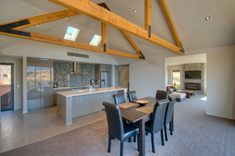 Macrocarpa trusses and kitchen