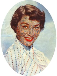 'Tattoo Face, 2010' by Julie Cockburn - embroidery on found photograph