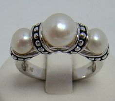 HONORA 925 STERLING SILVER RING 3 CREAMY WHITE PEARLS TRIPLE PEARL BAND SIZE 9 #HONORA #Solitaire