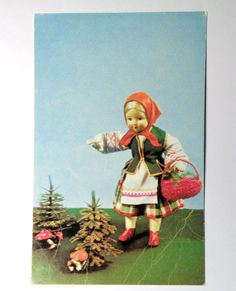"""Set of 3 vintage postcards """"Russian soul"""". Soviet vintage cards with a doll in national costume, birchwood, russian souvenirs. 1960s - 1970s"""