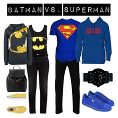 """Batman vs Superman"" by kacenka-1 on Polyvore featuring G-Star, Gucci, Changes, Vans, Puma, MANGO, Under Armour and Nixon"