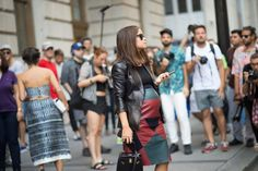 Pin for Later: Miroslava Duma Is the Fashion Force You'll Never Stop Following Her Maternity Style Is Unbeatable Leather on leather? No problem.
