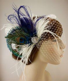 Feather Bridal Fascinator, Feather Fascinator, Bridal Fascinator, Rhinestone Hair clip, Wedding Veil, Fascinator - Fancy Peacock. $65.00, via Etsy.
