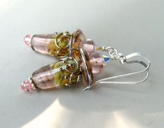 Elegant+handmade+earrings.+Teardrop+shaped+pink+by+GladRaggz,+$39.99