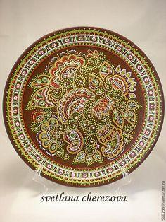 """Купить Декоративная тарелка """"Уж ты сад...""""(шоколад) - коричневый, тарелка, Тарелка декоративная, тарелка настенная"""
