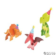A prehistoric party trio for your table decorations! These down-to-party dinos will make your party supplies really shine. Add these 3D centerpieces to your ...