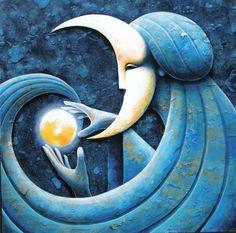 La lluna ens bressola / La luna nos acuna / The moon cradles us Sun Moon Stars, Sun And Stars, Triple Goddess, Moon Goddess, Luna Moon, Moon Images, Moon Illustration, Magic Realism, Good Night Moon