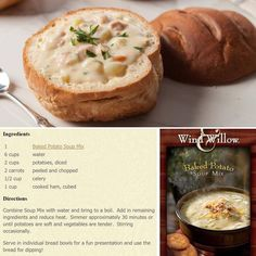 Cold weather is perfect for making warm, easy, delicious soup for dinner! How about Ham and Potato Soup!?  Use our Wind & Willow Baked Potato Soup mix - add potatoes, cooked ham, and veggies...Voila! #soup #comfortfood