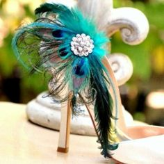 Shoe Clips Peacock Fan. Couture Bride Bridal Bridesmaid MOH, Birthday Feminine Sparkly Rhinestone, Statement Luxe Fancy Engagement Party. $63.50, via Etsy.