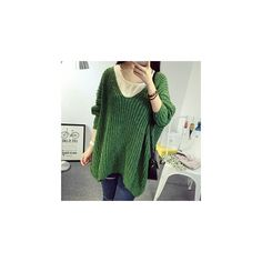 Chunky Knit Sweater (€27) ❤ liked on Polyvore featuring tops, sweaters, sweatshirt, women, lambswool sweater, green sweater, green top, chunky knit sweater and thick knit sweater