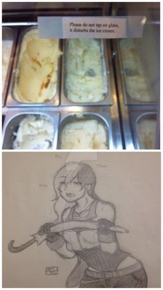 Please do not disturb the ice cream Rwby Anime, Rwby Fanart, Manado, Rwby Neo, Funny Images, Funny Pictures, Rwby Bumblebee, Red Like Roses, Rwby Memes