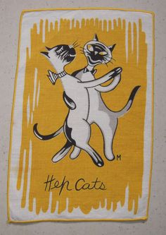 Vintage Siamese Cat Cocktail Napkin Hep Cats by unclebunkstrunk