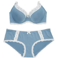 René Rofé Blue Lace Special Edge Bra & Hipster ($9.99) ❤ liked on Polyvore featuring intimates, bras, blue bra, lace underwire bra, stretch lace bra, rené rofé and lacy bras