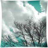 Tree Nature Landscape Sky Clouds Winter Aqua Blue Throw Pillow Case Cushion Covers Square 18x18 Inch *** Continue to the product at the image link.