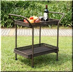 Patio Serving Cart Espresso Resin Wicker Wheeled Storage Shelves Deck Pool  | eBay