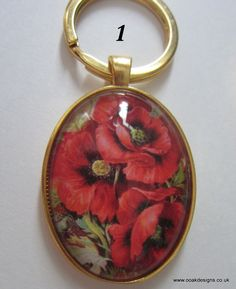 Keyring/Bagcharm Victorian Poppies Huge 30x40mm Glass Cabochon Gold Plated Base…