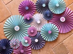 "Set of 15 Large 17"" / 11"" / 6"" DIY Paper Rosettes/Fans - Purple, Aqua and Dark Blue on Etsy, $38.00"