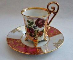 VINTAGE FLORAL GOLD GILT LORENZ & SOHN BAVARIA PORCELAIN DEMITASSE CUP & SAUCER | Antiques, Decorative Arts, Ceramics & Porcelain | eBay!