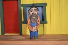 "Hill Billy wood carving hand carved by MADellinger  Wood Carving for the Everyday People"" series BH # 43"