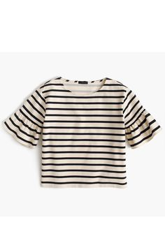 ruffle sleeve striped tee in natural