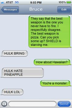 Texts From (Movie Characters) Last Night: Iron Man (Tony Stark) & Hulk (Bruce Banner)